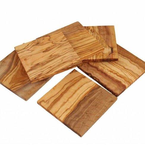 D.O.M. Vierkante houten onderzetters, 4 in set
