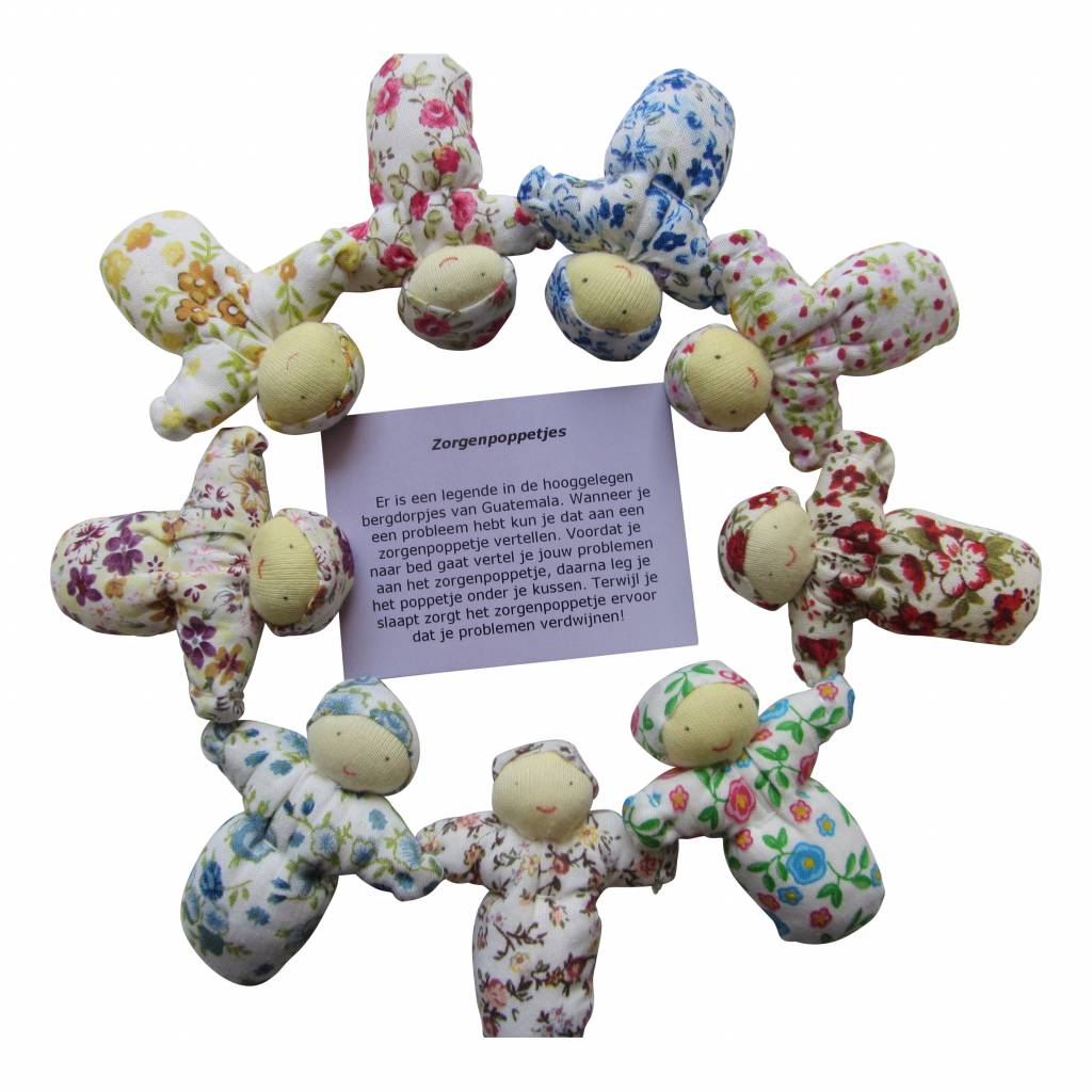 Zorgenpoppetjes (stof, handgemaakt)