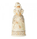 Jim Shore Jim Shore White Woodland Santa with Globe - kerstman