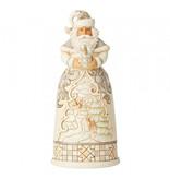 Jim Shore White Woodland Santa with Globe - kerstman