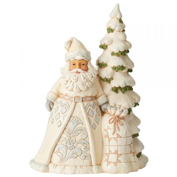 Jim Shore Jim Shore White Woodland Santa with Tree - kerstman