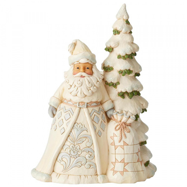 Jim Shore White Woodland Santa with Tree - kerstman