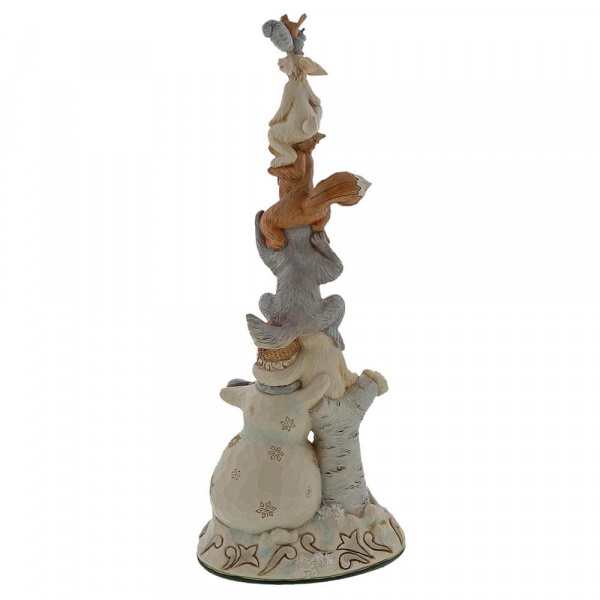 Jim Shore White Woodland Snowman Stacked with Animals