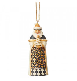 Jim Shore Black & Gold Santa ornament (met boom)
