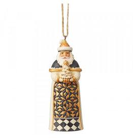 Jim Shore Jim Shore Black & Gold Santa ornament (met boom)