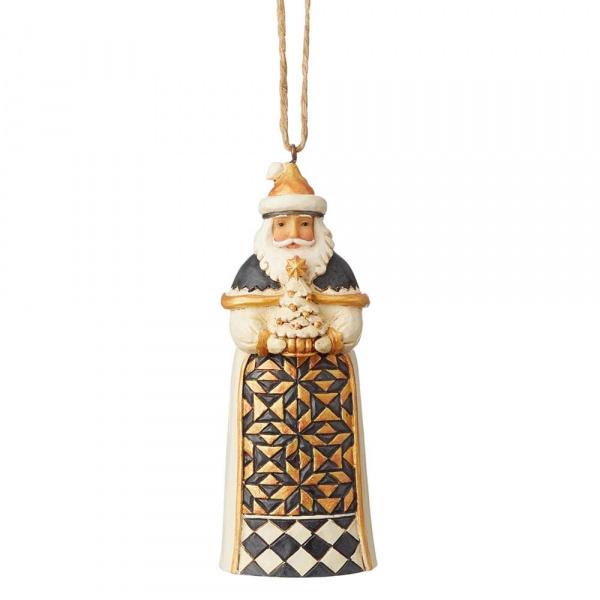 Jim Shore Jim Shore Black & Gold Santa hanging ornament (met boom)