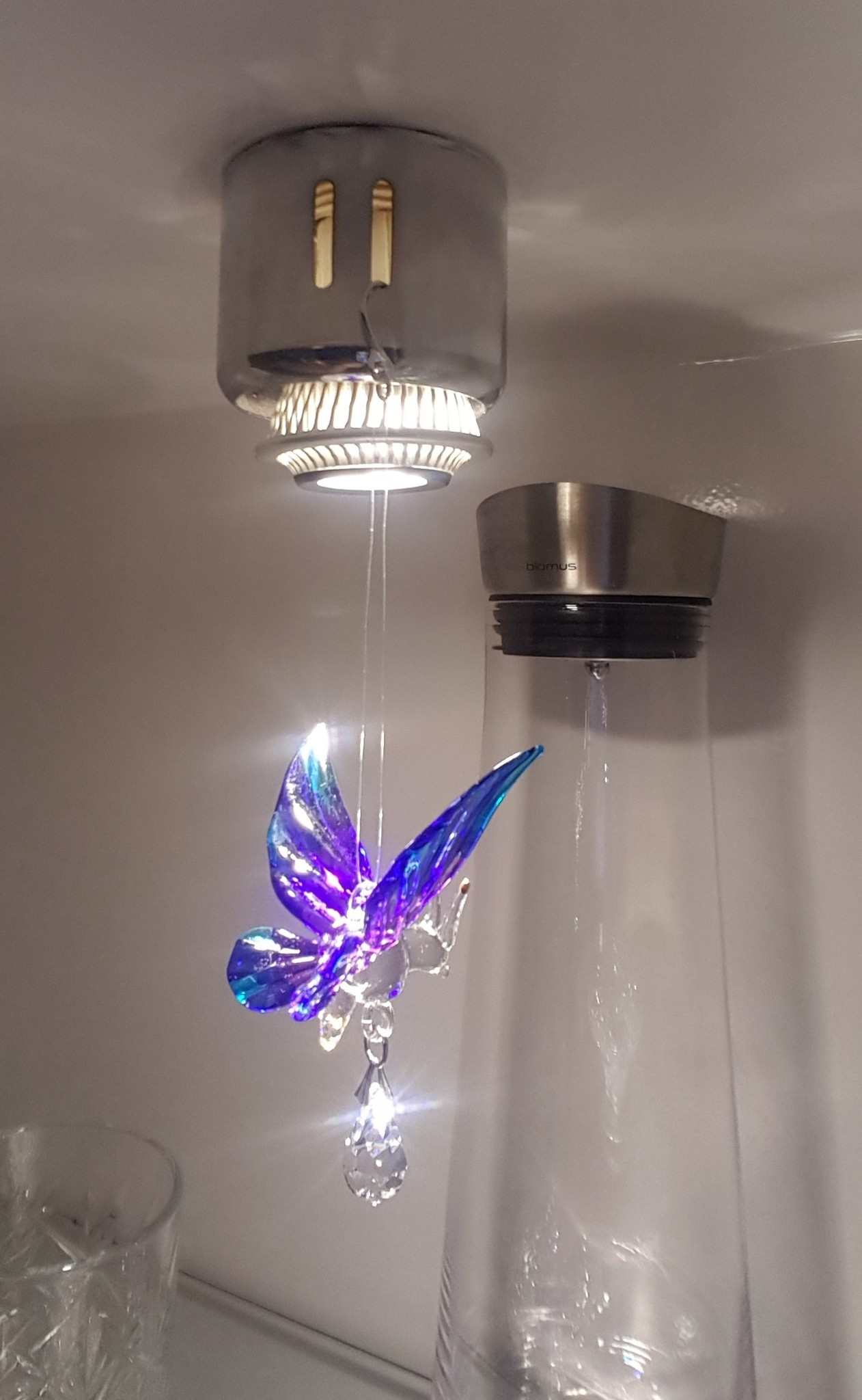 Suncatcher vlinder van glas en Swarovski kristal blauw