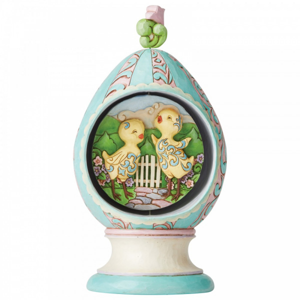 Jim Shore Revolving Egg with Bunnies and Chicks - Paasei