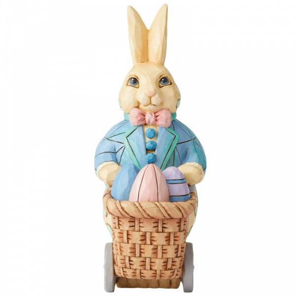 Jim Shore Bunny Pushing Cart of Eggs - paashaas