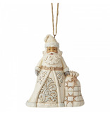 Jim Shore White Woodland Santa with Toybag ornament
