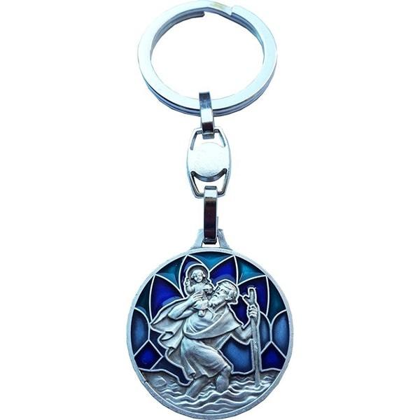 Christoffel sleutelhanger groen-blauw