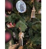 Jim Shore Black & Gold Santa hanging ornament (met boom)