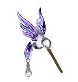 Suncatcher kolibrie van glas en Swarovski kristal (paars/blauw)