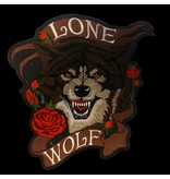 Lone wolf with roses