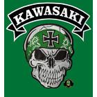 Badgeboy Skull with green bandana with Kawasaki banner