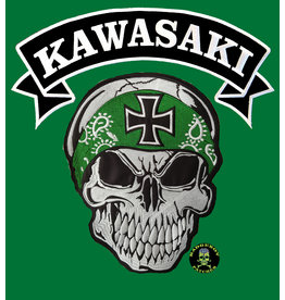 Badgeboy Skull with green bandana with Kawasaki banner