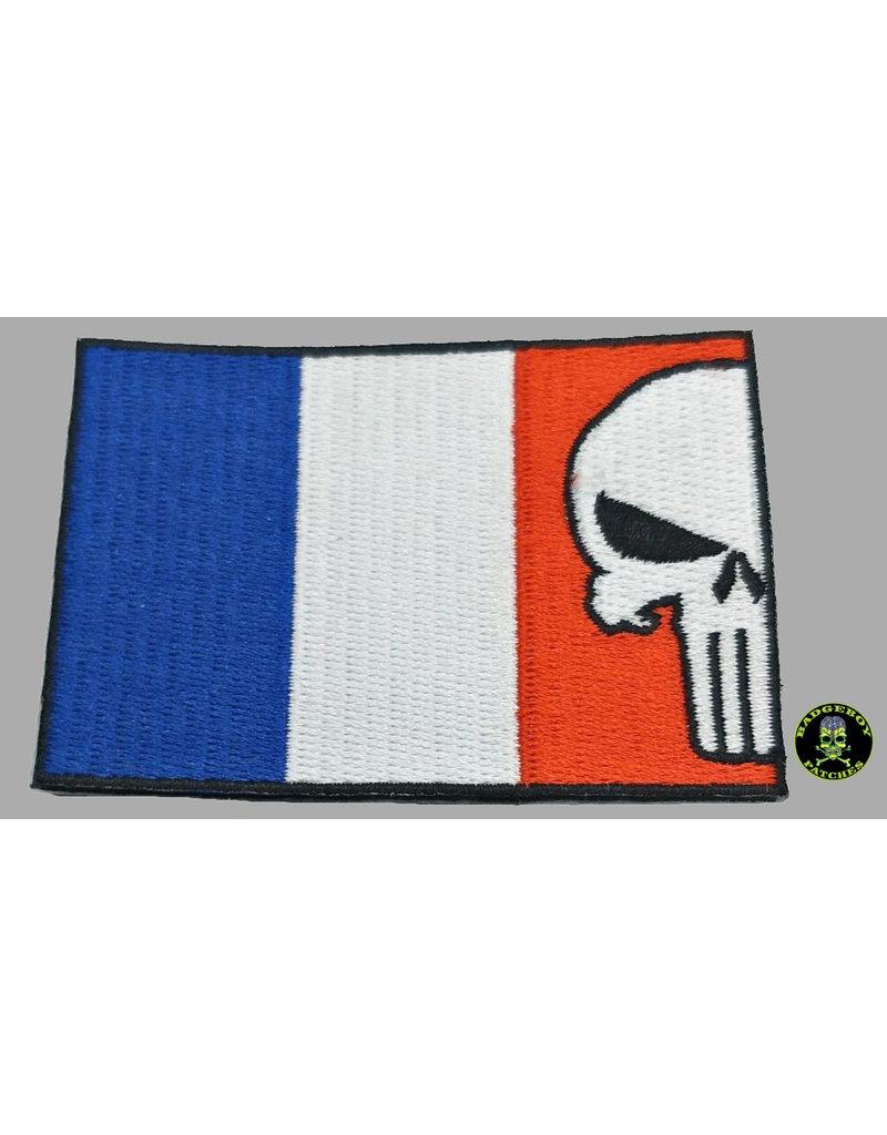 Badgeboy French flag skull patch 8 cm