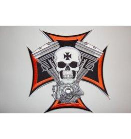 Skull and maltezer cross large