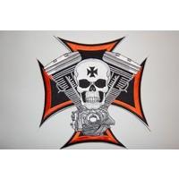 Skull and maltezer cross small