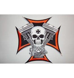 Skull and maltezer cross small