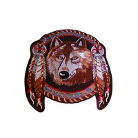 Badgeboy Dreamcatcher Wolf with feathers Large