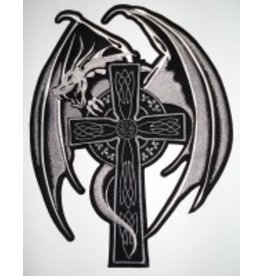 Badgeboy Dragon on Cross White
