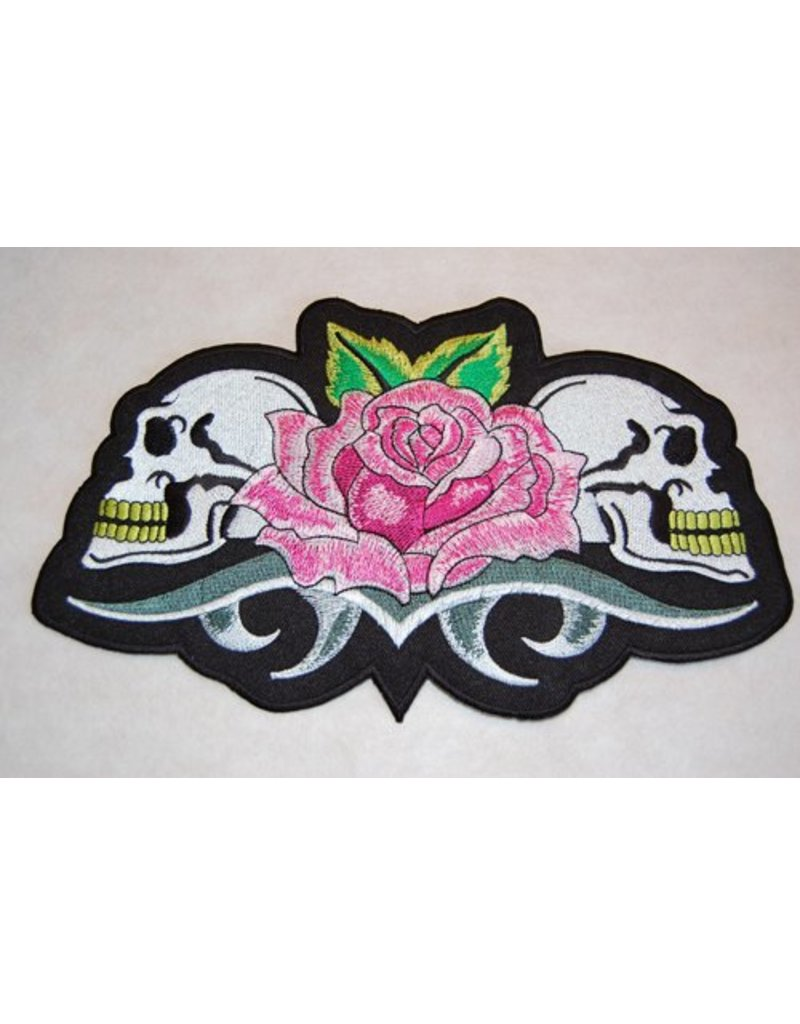 Two skulls with rose
