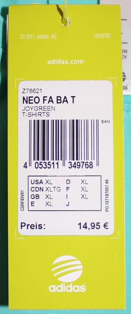 Adidas Adidas Damen T-Shirt NEO FA BA T Gr.XL mint Grün NEU