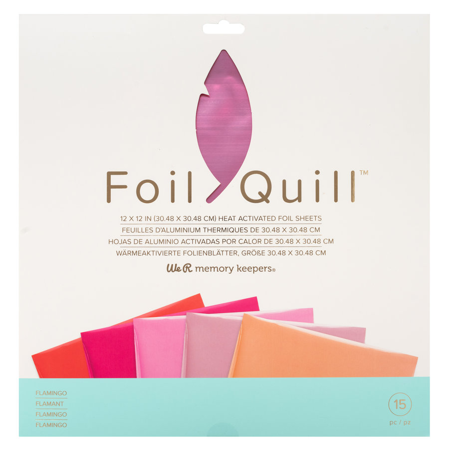 Folien-Federkielblätter 12 x 12 - FLAMINGO-1
