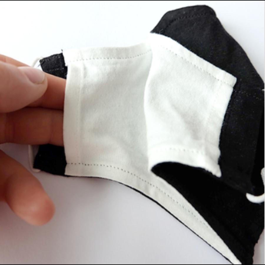 Masque buccal noir ou blanc avec espace pour filtre-3