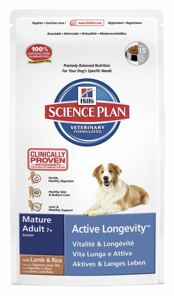 Hill's Hill's Science Plan Canine Mature Adult 7+ Active Longevity Lamb & Rice 12kg