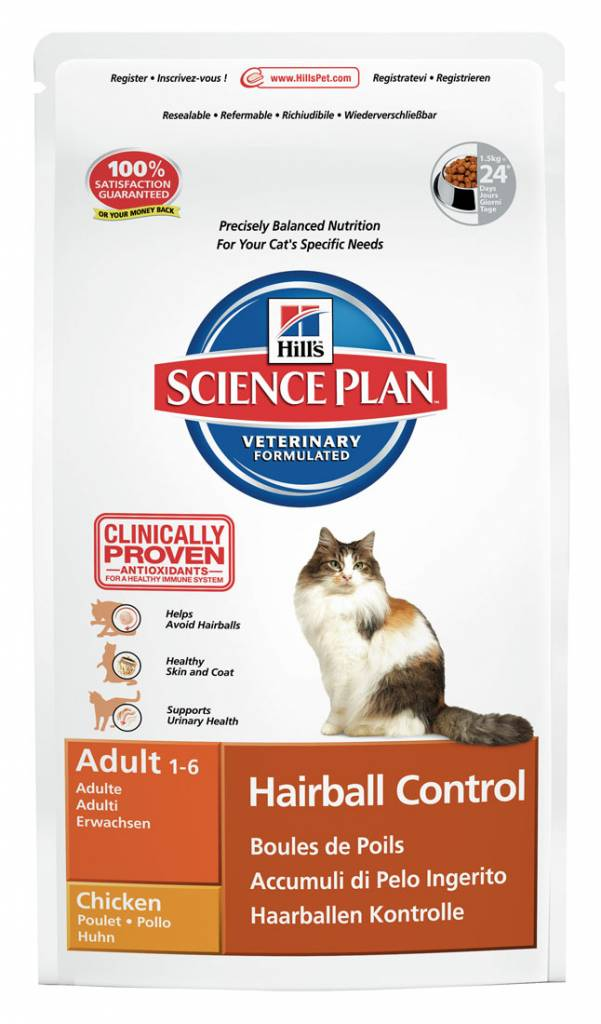 Hill's Hill's Science Plan Feline Adult Hairball Control Chicken 1,5kg