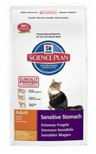 Hill's Hill's Science Plan Feline Adult Sensitive Stomach Chicken with Egg & Rice 6x 400gr