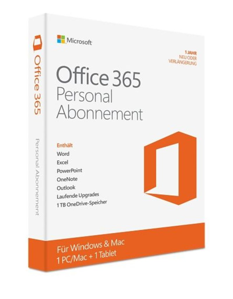 Microsoft Office 365 Personal (1-Jahres-Abonnement; 1 Lizenz)