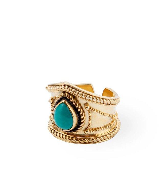 Route508 Verguld Gouden Turquoise Ring Amalia