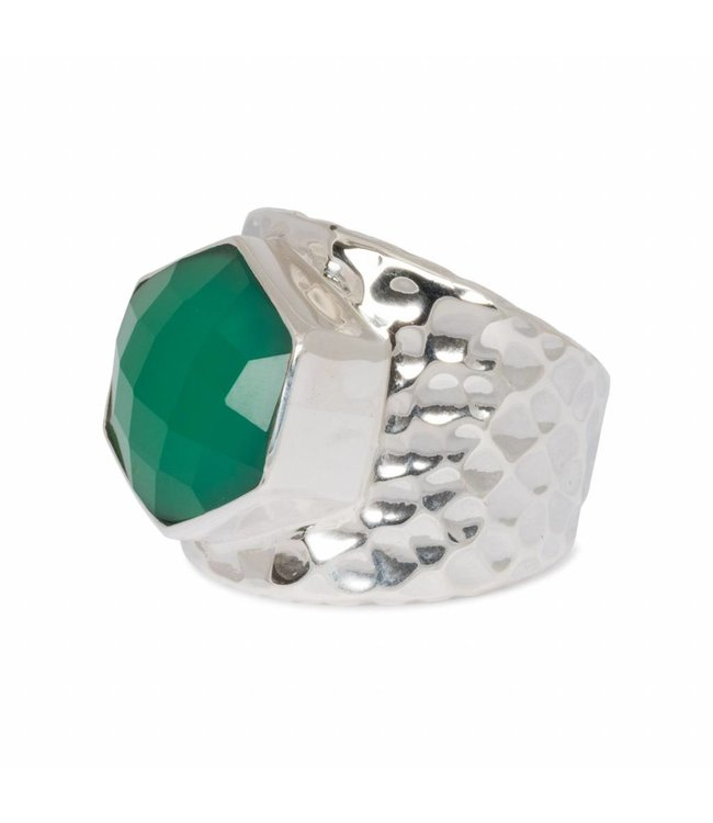 Route508 Silver Green Onyx Ring Lynx