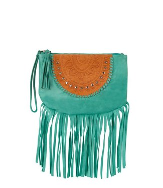 Mahiya Leather Leather Clutch | Skyla | Turquoise