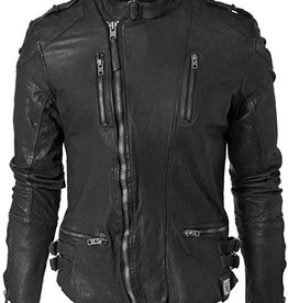 Tigha leren jas, zwart