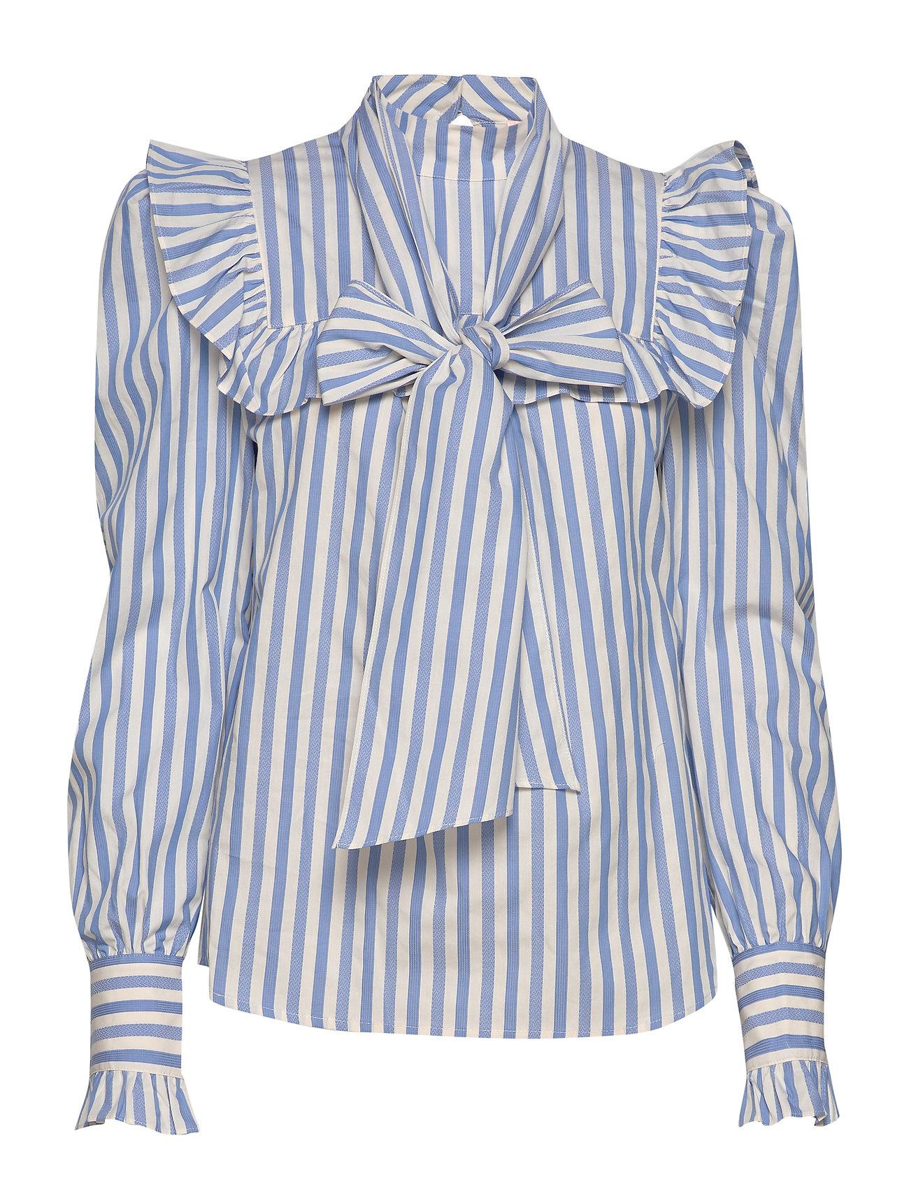 Custommade gestreept  blouse, blauw