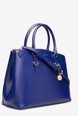 Lauren Ralph Lauren leder schoudertas, blauw