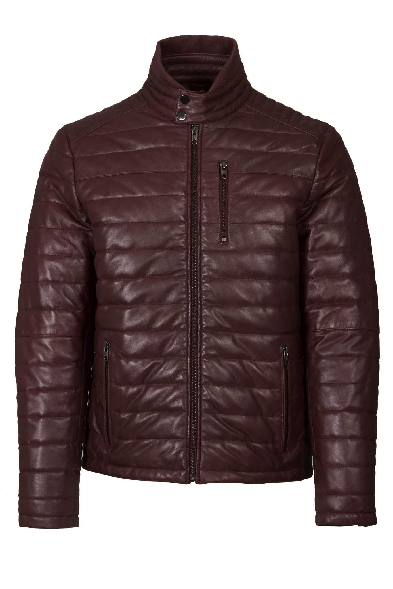 HeLium Oxus leren jacket, bordeauxrood