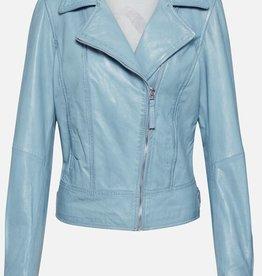 Freaky Nation Leder jas, lichtblauw