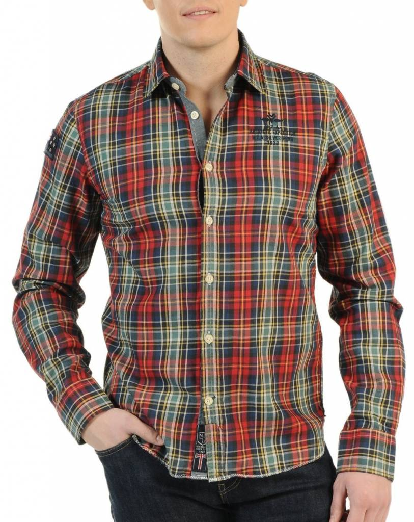 N-Z-A Oxus Overhemd, rood/groen