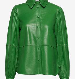 Ganni leren shirt, groen