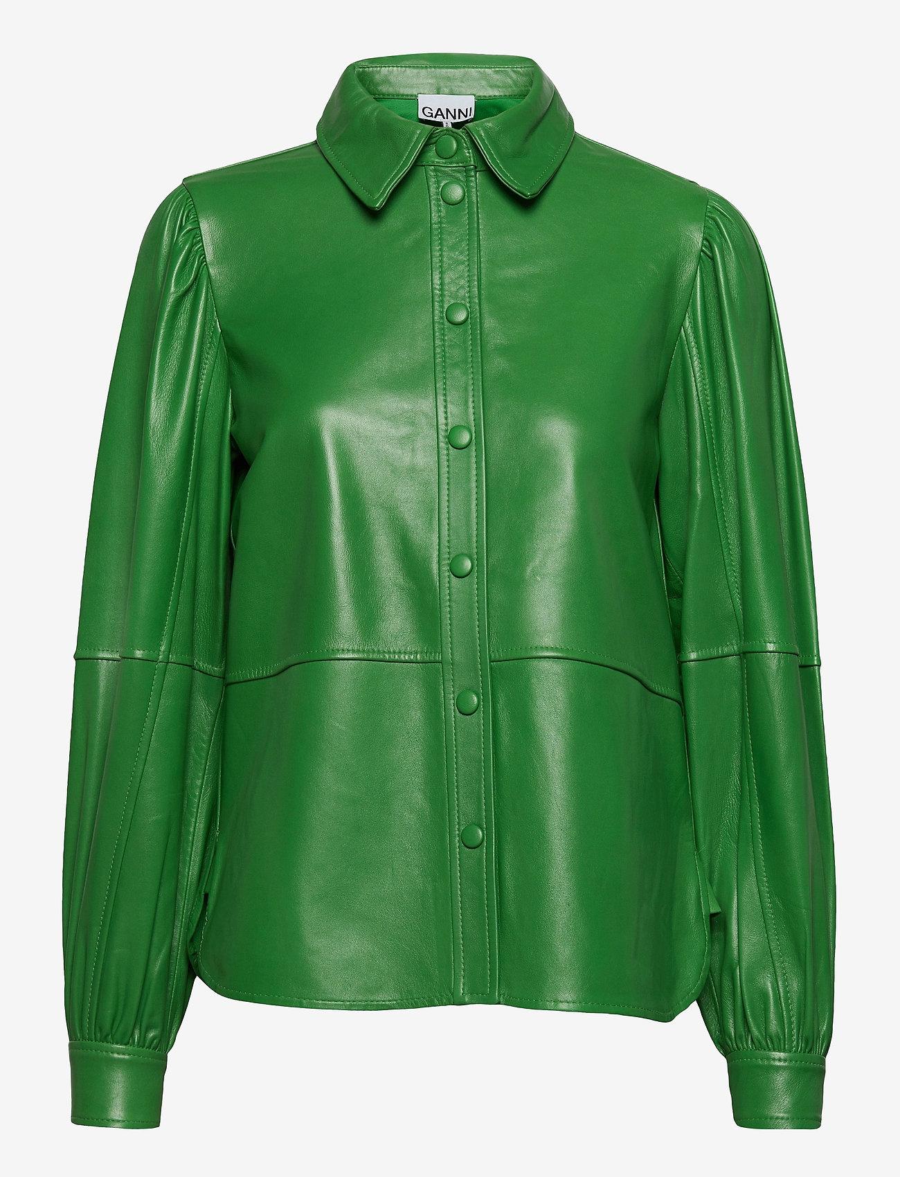 Ganni Oxus leren shirt, groen
