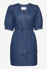 Selected Femme leder midi jurk, blauw