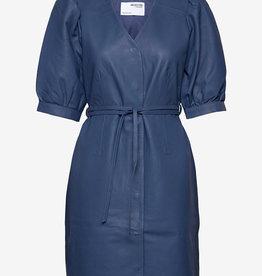 Selected Femme leder jurk, blauw
