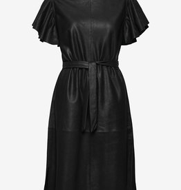 DEPECHE leder midi jurk, zwart