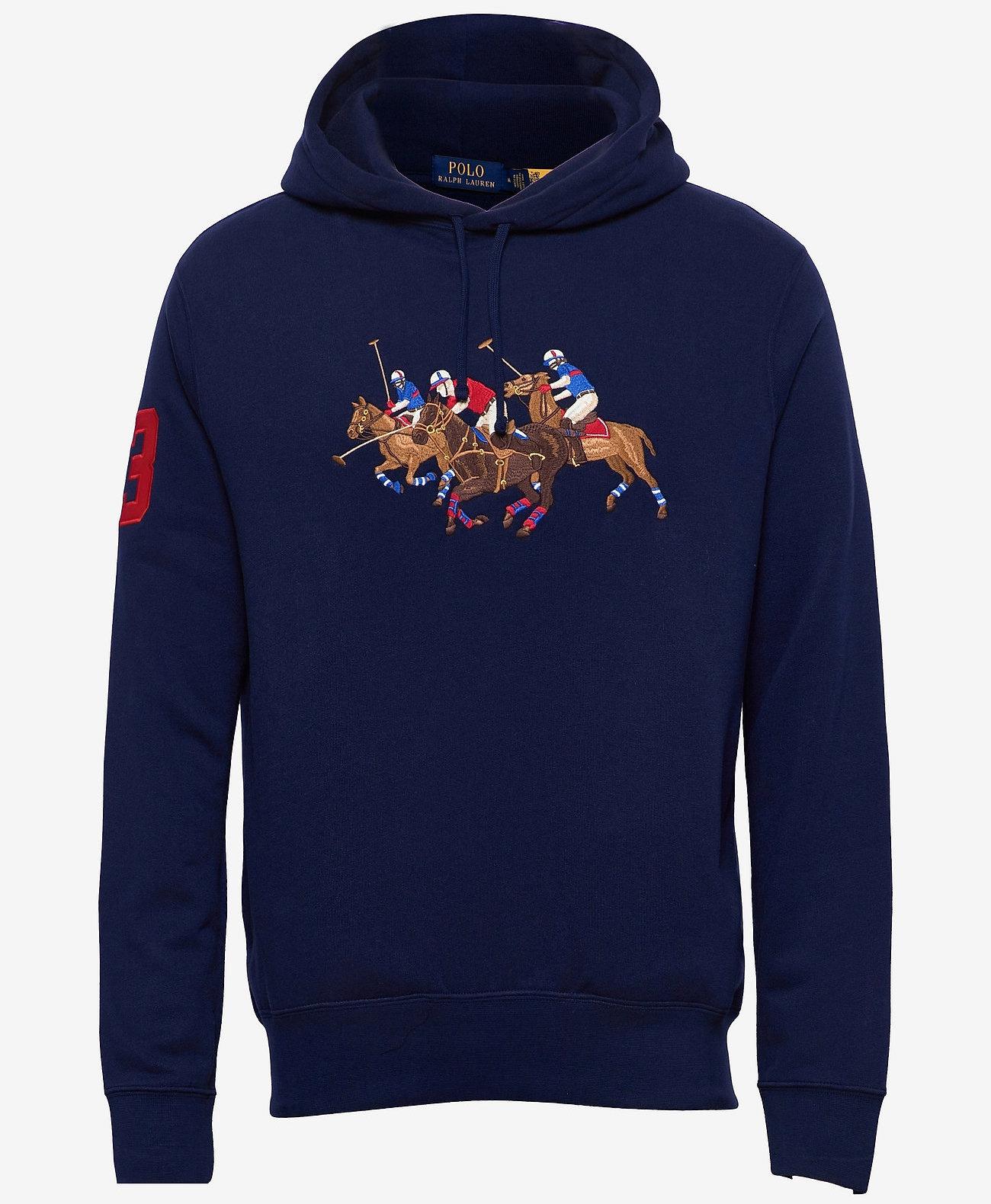 Polo Ralph Lauren Triple-Pony Crest Hoodie, blauw