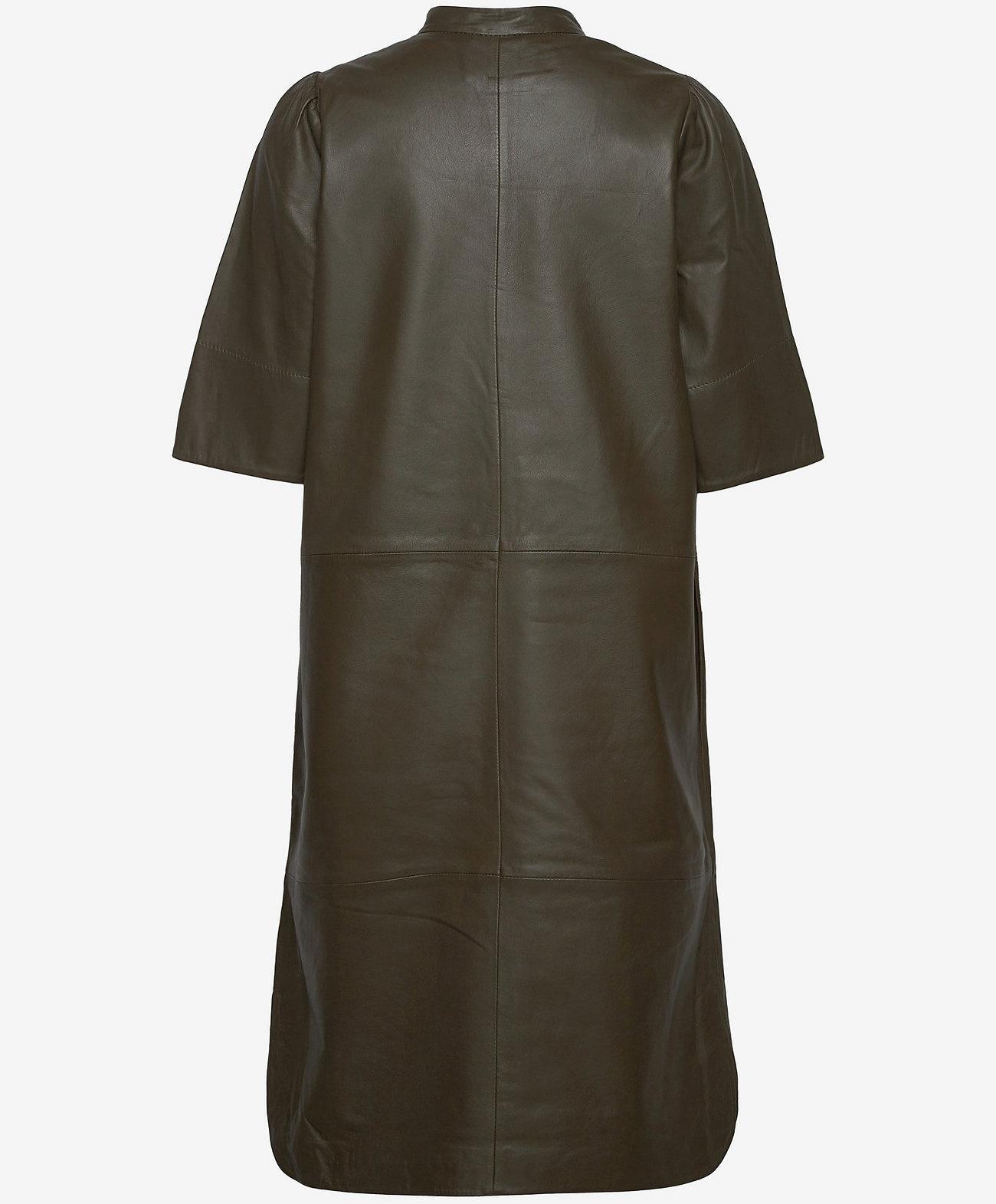 Second Female  leer jurk, olijfgroen